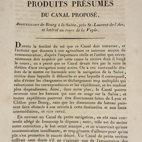 CANAL proposé aboutissant de BOURG à la SAONE, prés Saint Laurent de l'Ain et la…