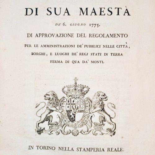 SAVOIE Patenti di Sua Majesta de 6 Giugno 1775. Di appovazioni del regolamento p…
