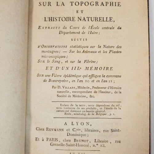 VILLARS (Dominique). Mémoires sur la Topographie et l'Histoire naturelle. Lyon, …