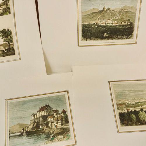 ISERE DAUPHINE Important lot d'estampes et cartes coloriées. XIX siècle, format …