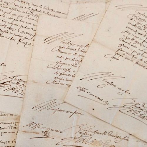 ARDECHE ANNONAY 10 pièces manuscrites du XVII siècle (1639 1640) Interessante co…