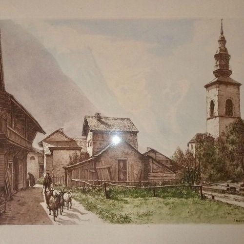 DREVET (Joanny). Argentière 1951. Becc. 142, encadrée (50 x 42 cm), en pin teint…