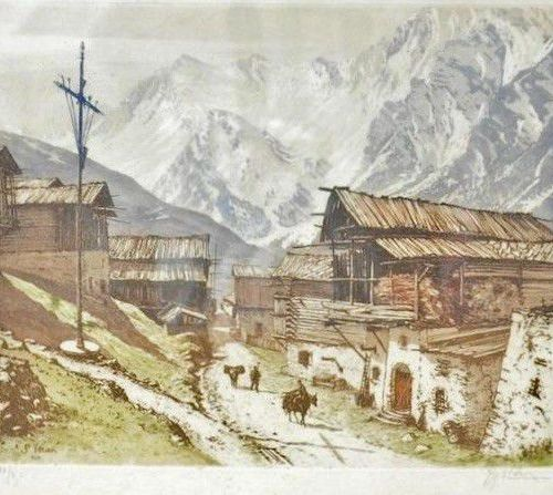 DREVET Joanny (1889 1969). Saint Véran (Hautes Alpes), Becc. 272. Aquatinte, sit…