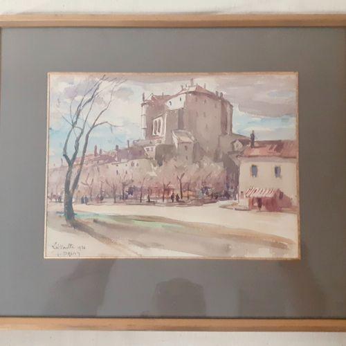 DREVET (Joannès). La Voulte 1926. Aquarelle localisée, datée et signée en bas à …