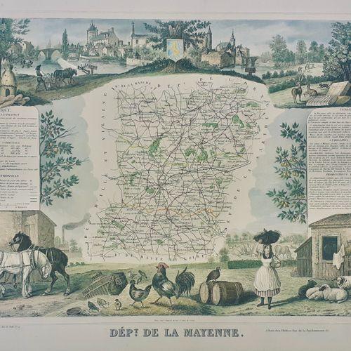 DEPARTEMENT DE LA MAYENNE. Belle carte en couleurs, vers 1870 Sous marquise et t…