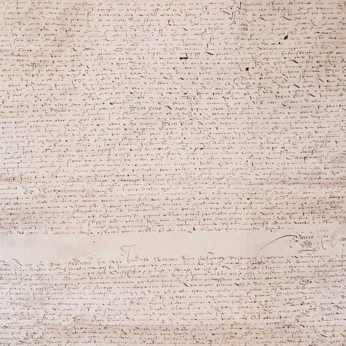 VELAY RIOTORD. Spectaculaire document aux grandes dimensions, rédigé sur parchem…