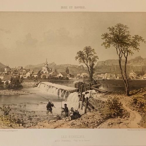 """SAVOIE Les Echelles. Lithographie tirée du """"Nice et Savoie"""", coloriée. 49x32 cm …"""
