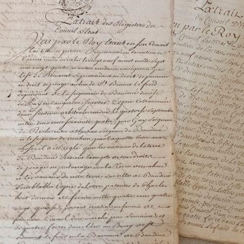 """SAINT BONNET LE FROID Documents manuscrits datés du Premier avril 1749,"""" Arrest …"""