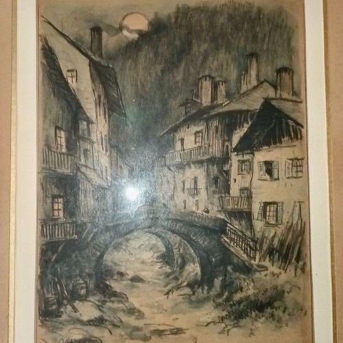 DREVET (Joannès) Souvenir de Beaufort. Dessin original aquarellé, 22,5 x 17 cm, …