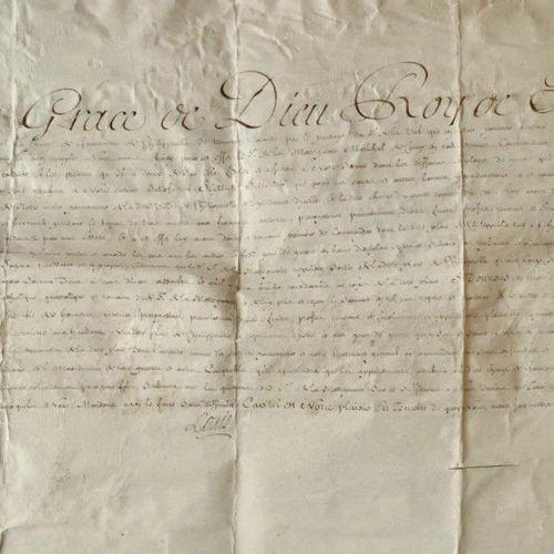 LOUIS XV Grand document, très décoratif et en parfait état, signé LOUIS, contres…