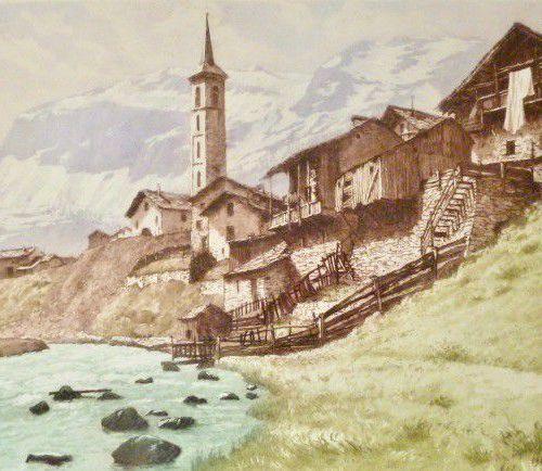 DREVET (Joanny) L'Isère à Tignes, Becc. 221, s.D.. Encadrée, 49 x 48 cm, simple …