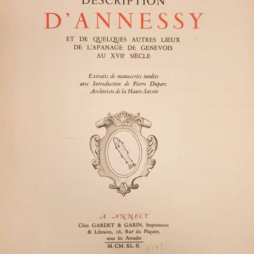 DUPARC (Pierre). Description d'Annessy et de quelques autres lieux de l'apanage …