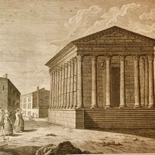 NIMES Vue de la Maison Couarré (sic) de Nîmes. Dessinée par Guerin, gravée par G…