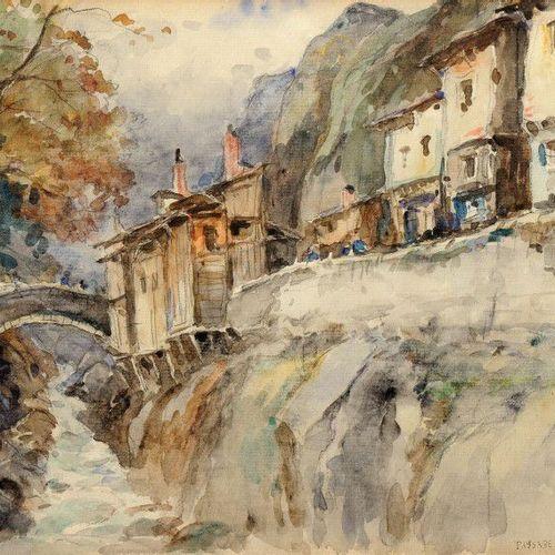 DREVET (Joannès). Paysage de Maurienne. Aquarelle originale, 21,5 x 30 cm, signé…