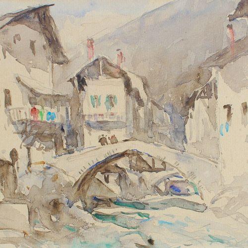 DREVET (Joannès). Beaufort sur Foron. Aquarelle originale (23 x 18 cm), signée e…
