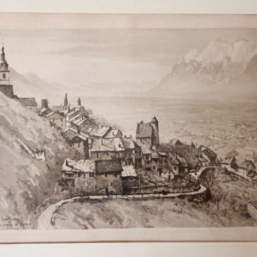 DREVET (Joannès). Conflans La Combe de Savoie. Belle eau forte encadrée. 38 x26 …