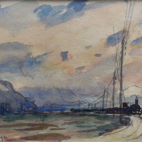 DREVET (Joannès). Le train à Chindrieux. 1921. Dessin à la mine de plomb et aqua…