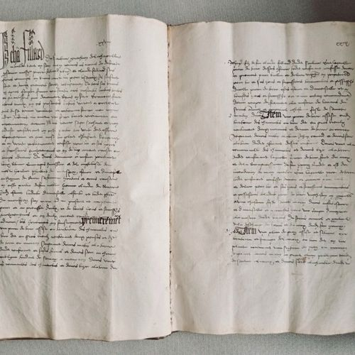 "BOURGOGNE Spectaculaire ""Terrier"" du XV siècle, environ 140 pp., de format in fo…"