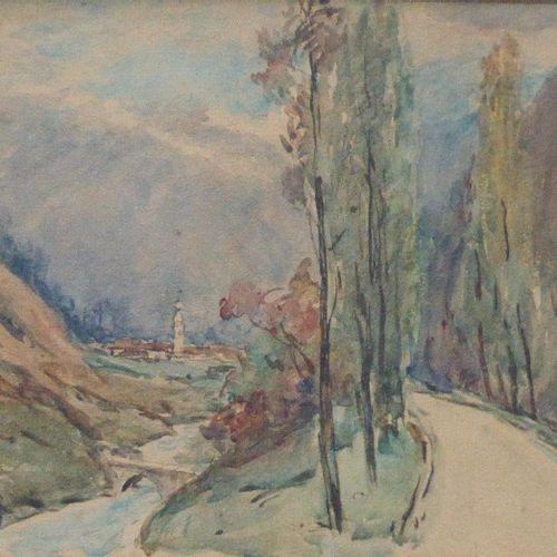 DREVET (Joannès). Bozel. 1928. Aquarelle 30 x 25 cm à vue, encadrée 46 x 39 cm a…