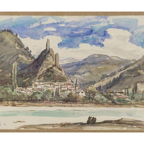 DREVET (Joannès). Vue de Volonne [Htes Alpes]. Aquarelle sur papier, de belle ta…