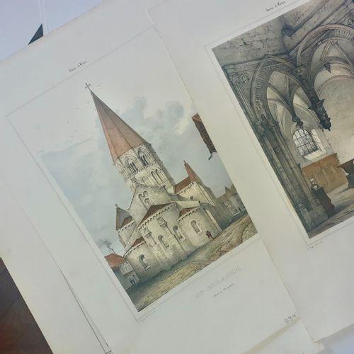 """SAONE ET LOIRE Réunion de 7 lithographies tirés de l'Album de """"Saône et Loire"""" e…"""