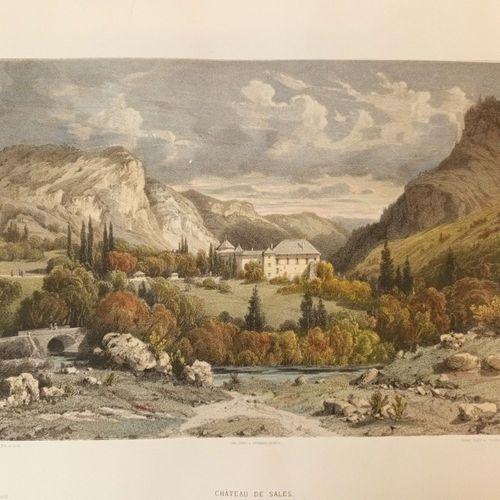 HAUTE SAVOIE. Château de Sales Lithographie, 53x36 cm, sous marquise. Retirage p…