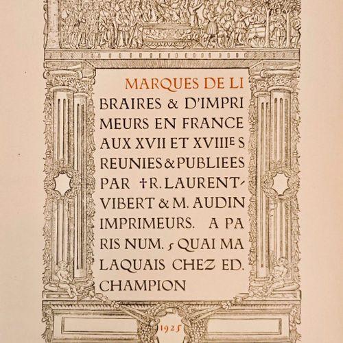 """LAURENT VIBERT (Robert) et AUDIN (Marius). """"Marques de Libraires en France aux X…"""
