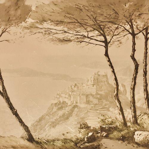 DREVET (Joanny) Sous les Pins d'Eze Becc. 200, s.D. ; encadrée 46 x 52 cm large …