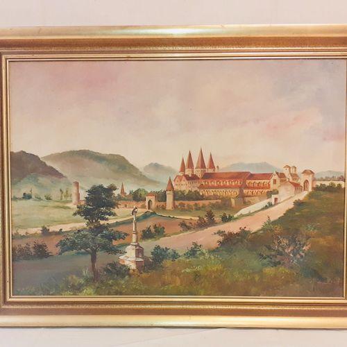 """(Bourgogne) Etienne PROST (XXème), """" Abbaye de Cluny"""".Huile sur toile signée. Di…"""