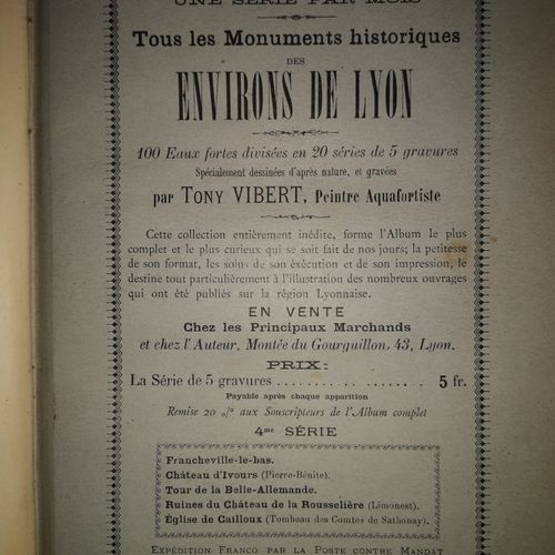 VIBERT (Tony). Monuments historiques des Environs de Lyon. Eaux fortes dessinées…