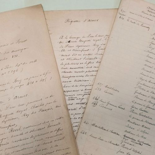 GENEALOGIE Auvergne, Bourbonnais, Forez. Ensemble de pièces manuscrites concern…