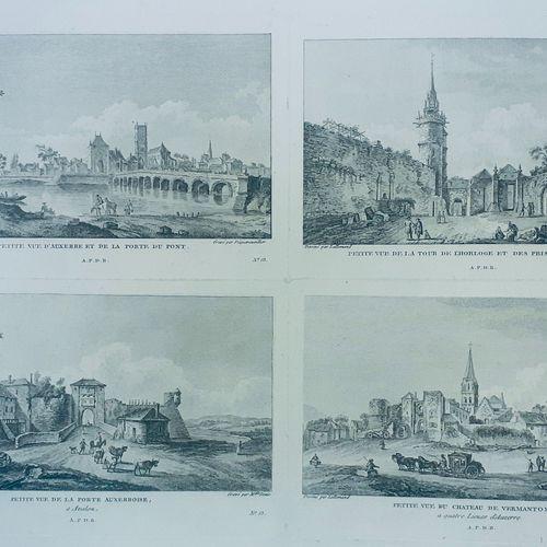 (BOURGOGNE) AUXERRE. Belle estampe du XVIII siècle (datée 1785). Divisé en 4 par…