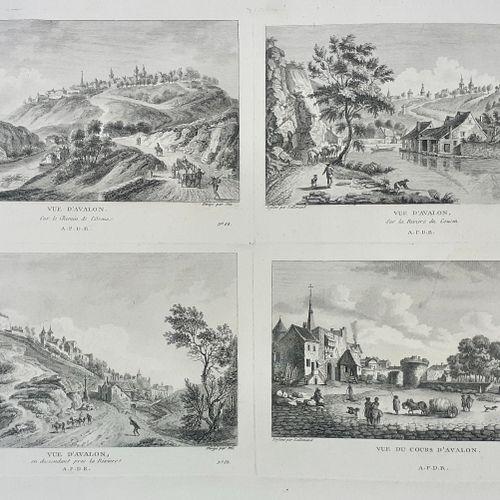 (BOURGOGNE) AVALLON. Tres rare estampe du XVIII siècle (datée 1785). Divisé en 4…