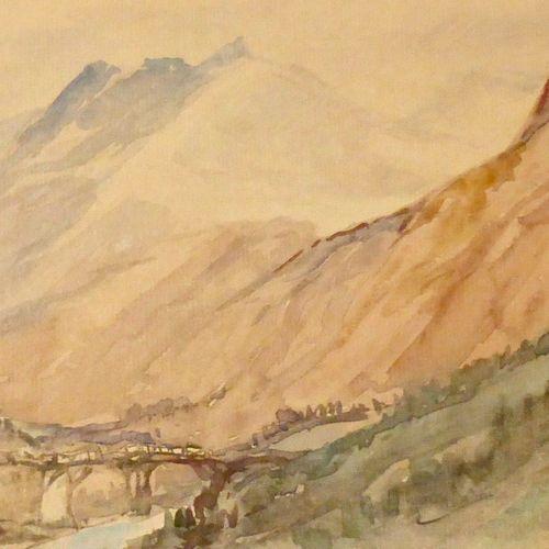 DREVET (Joannès). Paysage savoyard 1928. Aquarelle, non localisée, signée et dat…