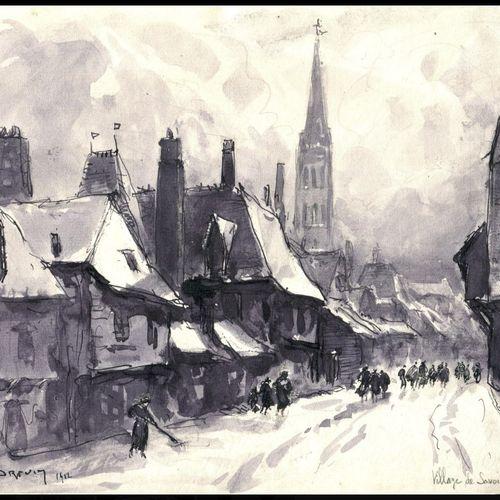 DREVET (Joannès). Village de Savoie en hiver, 1912. Dessin à la plume et au lavi…