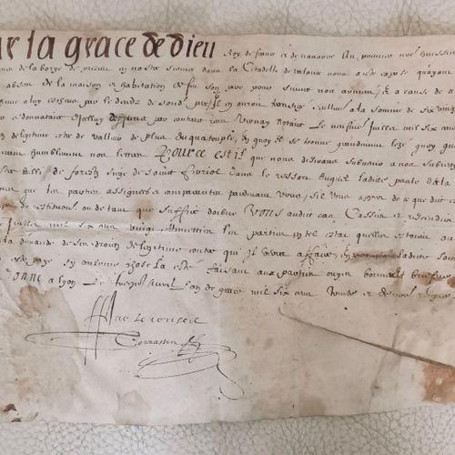 DROME Pièce sur parchemin, datée du 13 AVRIL 1630. Requête de Jacques de la Bory…