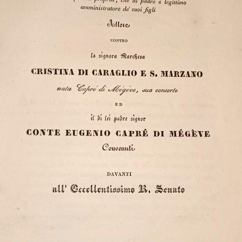 SAVOIE MEGEVE. Disputa, per il signor Marchese Carlo Asinari di Caraglio e S. Ma…