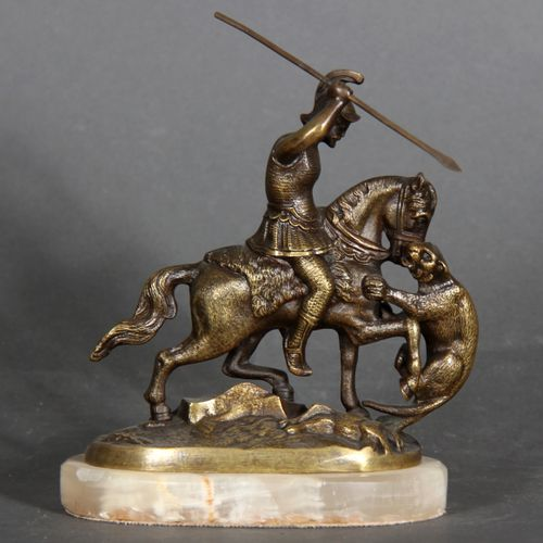Modern school.  Rider attacked by a tiger.  Sculpture in bronze on an onyx count…