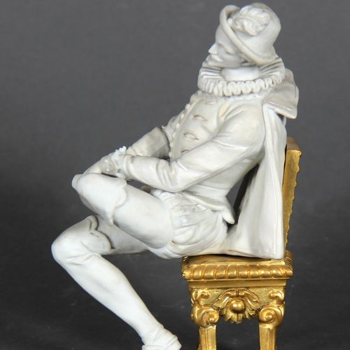Modern school.  Young man sitting in Henri IV costume.  Bisque sculpture on a gi…