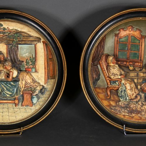 MUSTERSCHUTZ scenes of the everyday life.  Pair of round bas relief in polychrom…