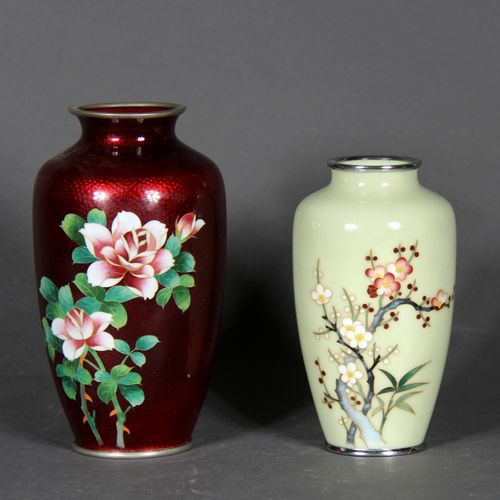Two metal vases, enamelled, pale green and red with flowers.  Modern Japan.  H o…