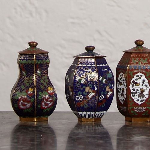 Ten small cloisonné metal covered boxes, modern China  H : 8 cm.