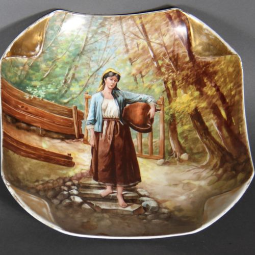 Square porcelain dish with polychrome painted decoration of a woman going to the…