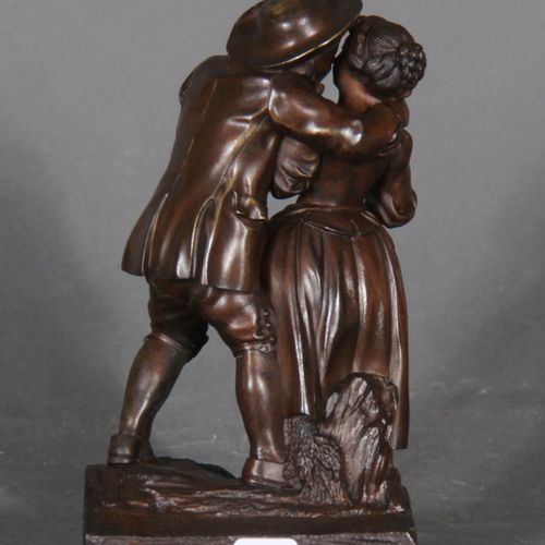Modern school.  Couple of young shepherds.  Bronze sculpture with brown patina. …