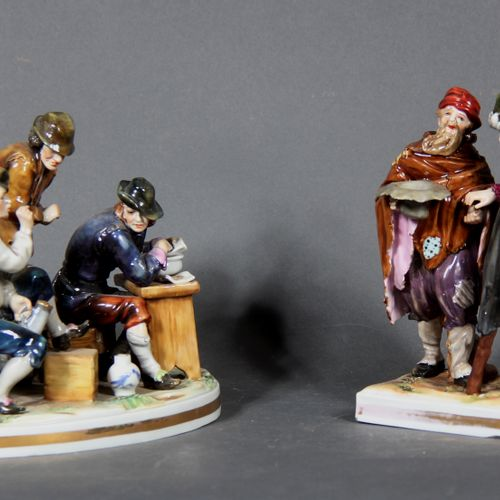 Modern school.  Tavern scene and mandator.  Two groups in polychrome and gilded …