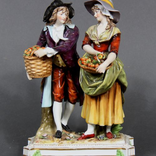 German modern school.  Couple of apple pickers.  Polychrome and gilded porcelain…