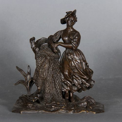 Modern school.  The return of fishing.  Bronze sculpture with black patina.  H :…