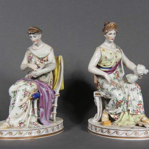 German modern school.  Allegories of sculpture and music.  Pair of polychrome an…