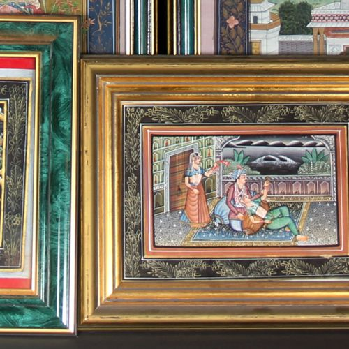 Twelve framed pieces: India, Russia, Iran