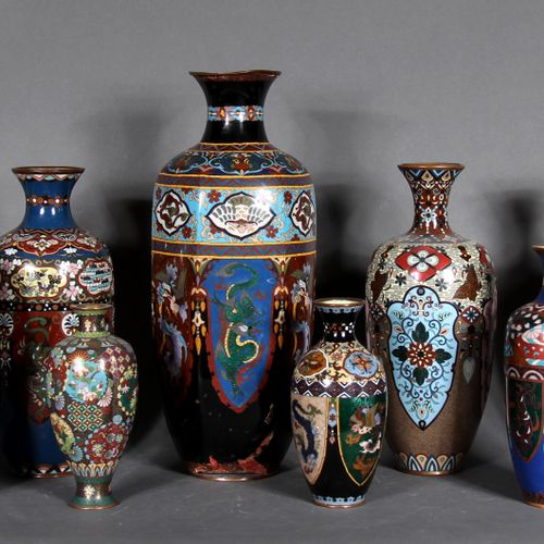 Lot of ten cloisonné metal vases with stylized animals and flowers.  Modern Japa…